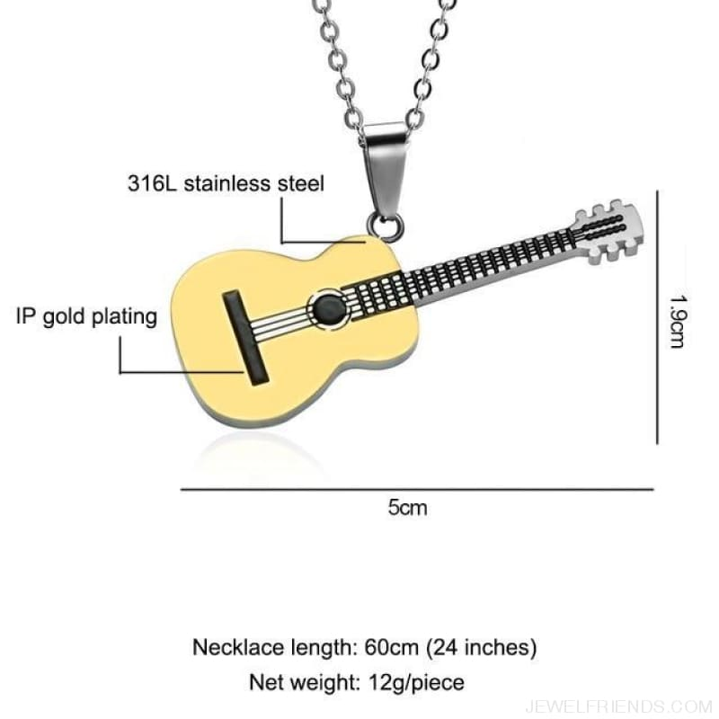 Stainless Steel Music Guitar Pendant Necklace - Gold - Custom Made | Free Shipping
