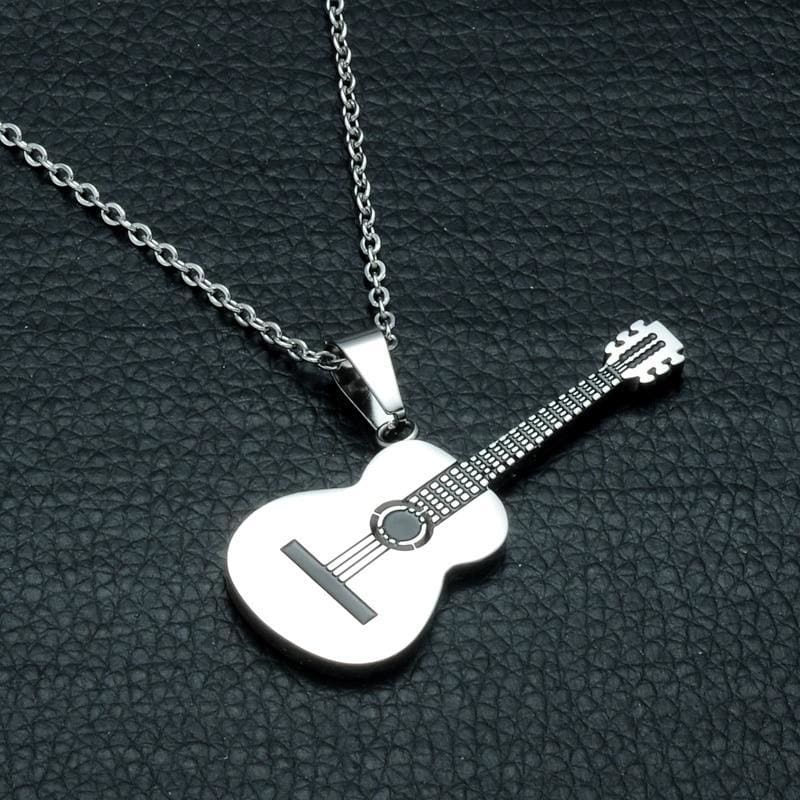 Stainless Steel Music Guitar Pendant Necklace - Custom Made | Free Shipping