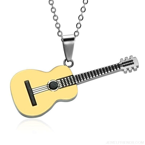 Image of Stainless Steel Music Guitar Pendant Necklace - Custom Made | Free Shipping