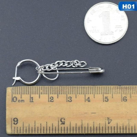 Stainless Steel Safety Pin Geometry Chain - 01 - Custom Made | Free Shipping