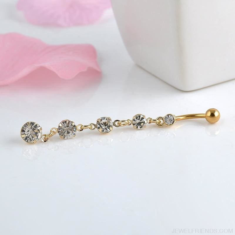 Stainless Steel Zircon Drop Navel Rings - Custom Made | Free Shipping