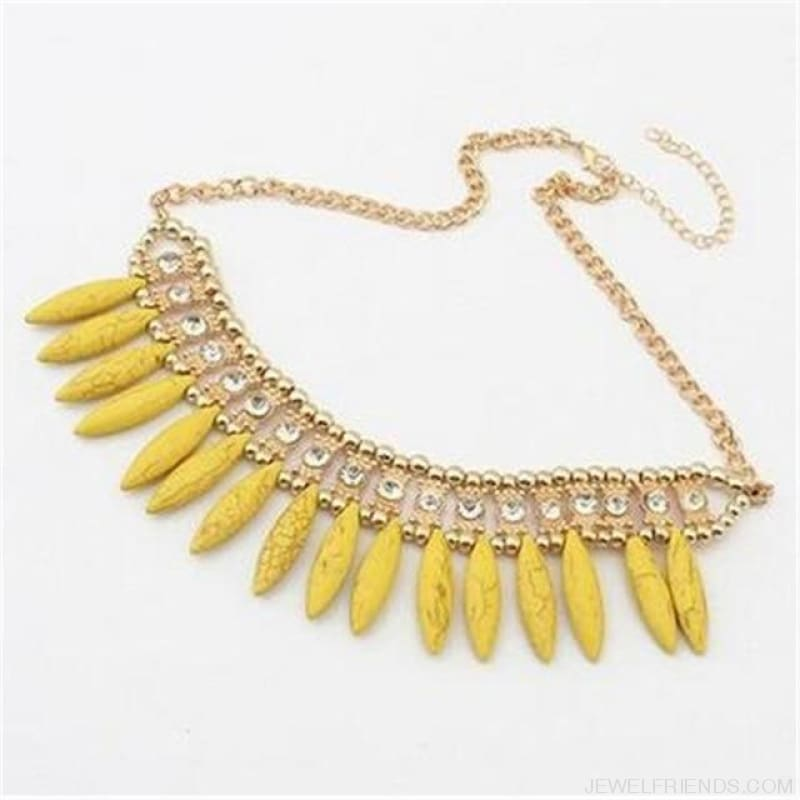 Statement Crystal Stone Pendants Charm Necklaces - Yellow - Custom Made | Free Shipping