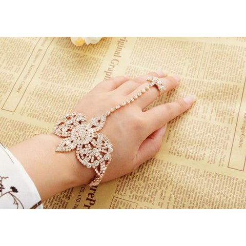 Statement Rhinestone Finger Ring Bracelets - Custom Made | Free Shipping