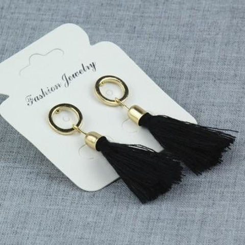 Image of Statement Square Crystal Tassel Earrings - E0102Hei - Custom Made | Free Shipping