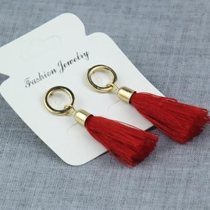 Statement Square Crystal Tassel Earrings - E0102Hong - Custom Made | Free Shipping
