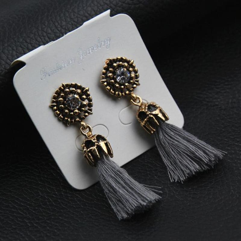 Statement Square Crystal Tassel Earrings - E0187Gray - Custom Made | Free Shipping