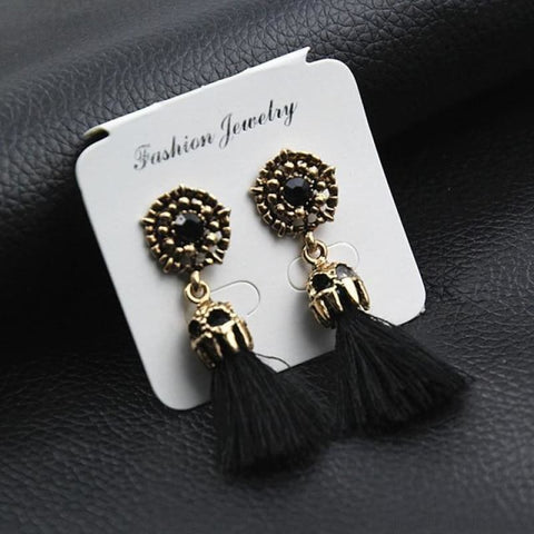 Image of Statement Square Crystal Tassel Earrings - E0187Hei - Custom Made | Free Shipping