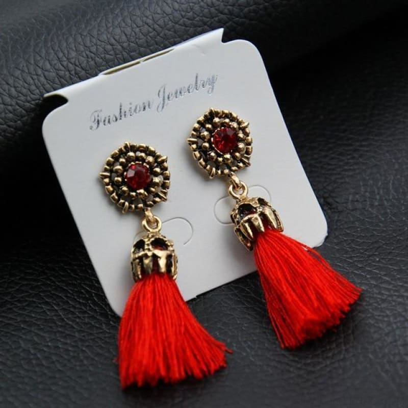 Statement Square Crystal Tassel Earrings - E0187Red - Custom Made | Free Shipping