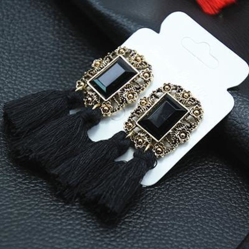Statement Square Crystal Tassel Earrings - E050Black - Custom Made | Free Shipping