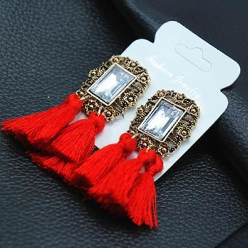 Statement Square Crystal Tassel Earrings - E050Red - Custom Made | Free Shipping