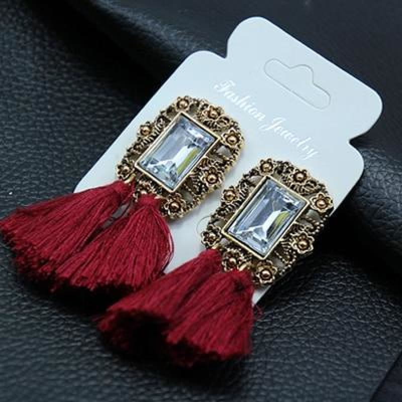 Statement Square Crystal Tassel Earrings - E050Wine - Custom Made | Free Shipping