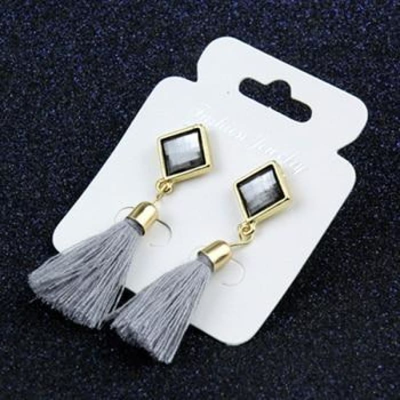 Statement Square Crystal Tassel Earrings - E075Gray - Custom Made | Free Shipping