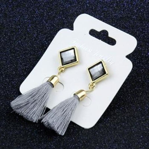 Image of Statement Square Crystal Tassel Earrings - E075Gray - Custom Made | Free Shipping
