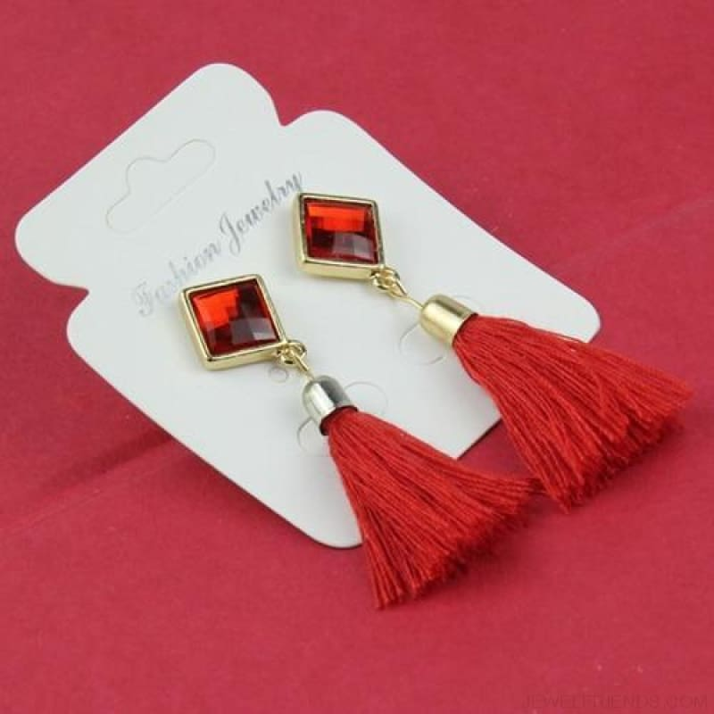 Statement Square Crystal Tassel Earrings - E075Red - Custom Made | Free Shipping