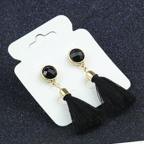 Image of Statement Square Crystal Tassel Earrings - E083Black - Custom Made | Free Shipping