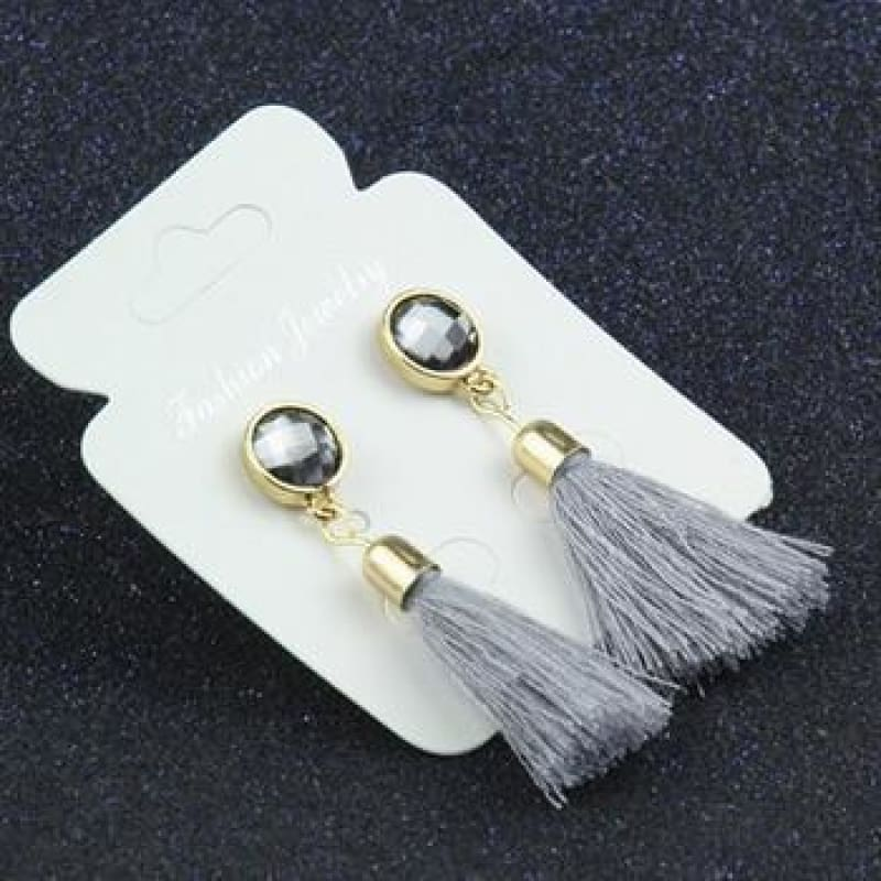 Statement Square Crystal Tassel Earrings - E083Gray - Custom Made | Free Shipping
