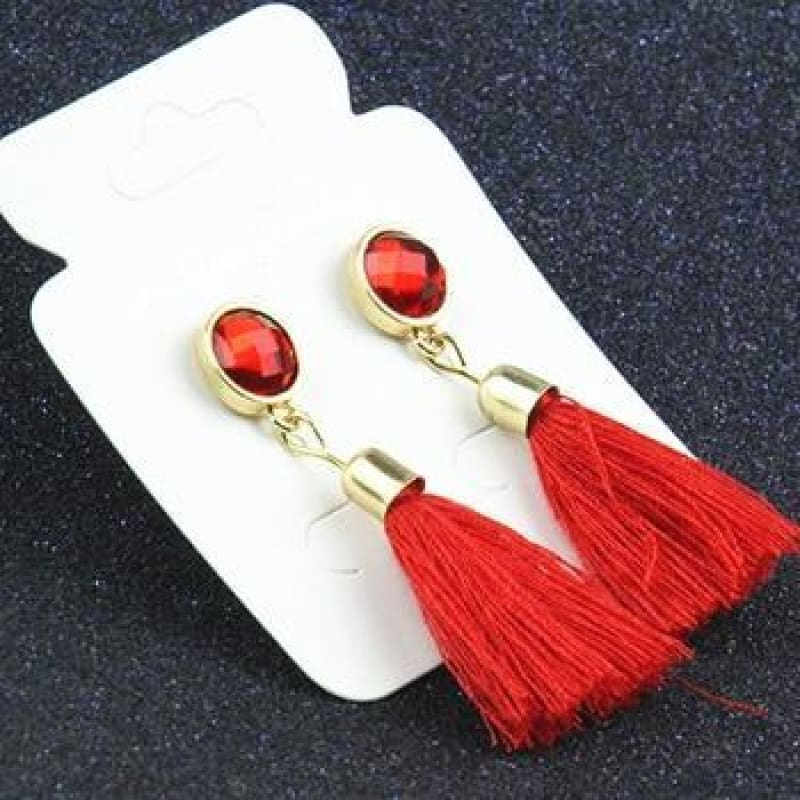 Statement Square Crystal Tassel Earrings - E083Red - Custom Made | Free Shipping