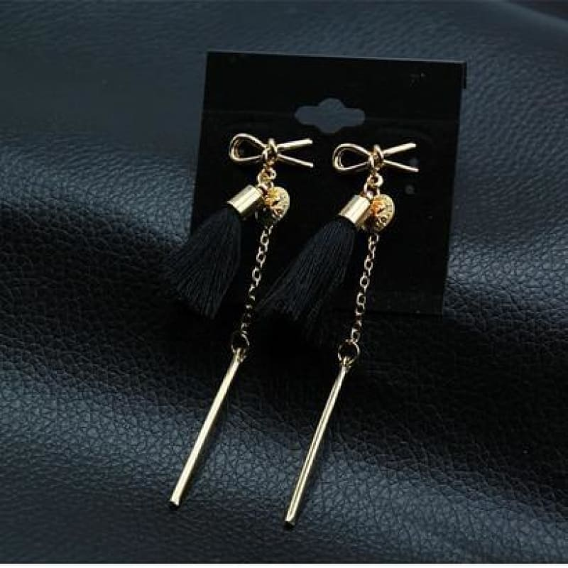 Statement Square Crystal Tassel Earrings - Eblack0222 - Custom Made | Free Shipping
