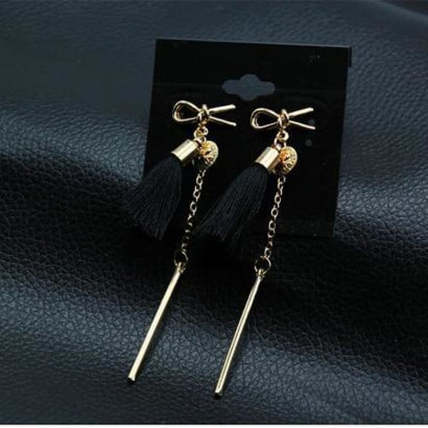 Image of Statement Square Crystal Tassel Earrings - Eblack0222 - Custom Made | Free Shipping