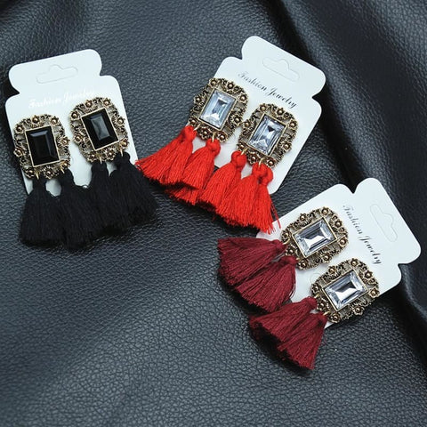 Image of Statement Square Crystal Tassel Earrings - Custom Made | Free Shipping