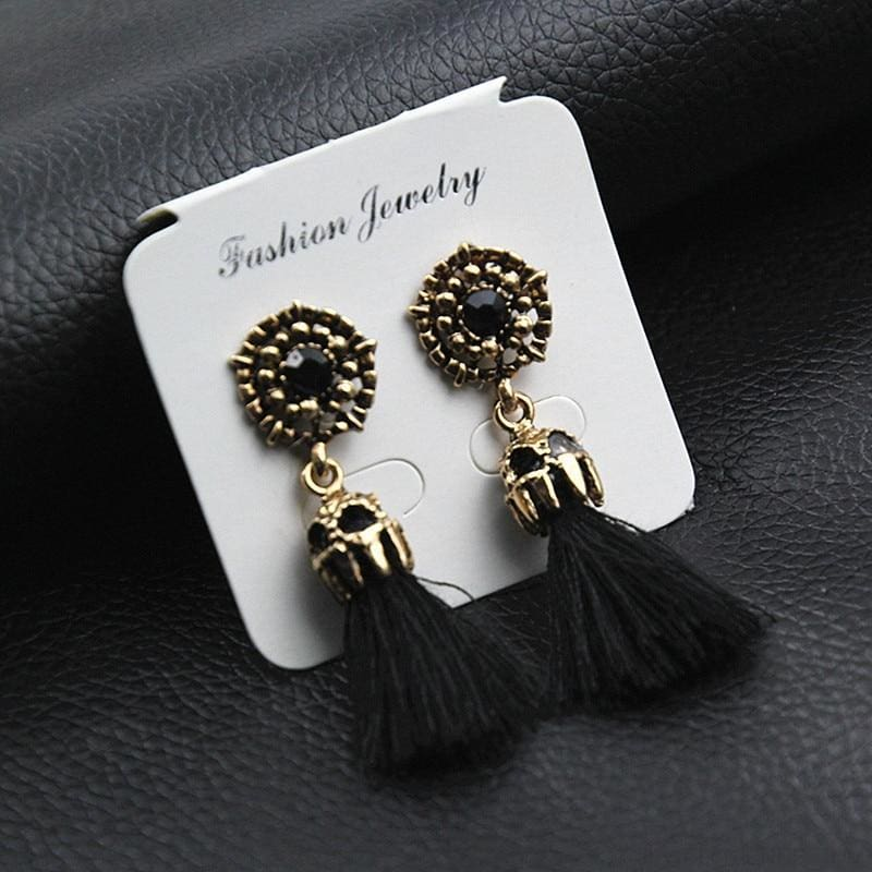 Statement Square Crystal Tassel Earrings - Custom Made | Free Shipping