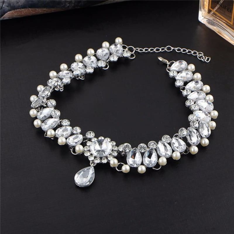 Statement Water Drop Crystal Beads & Pearls Choker - Custom Made | Free Shipping
