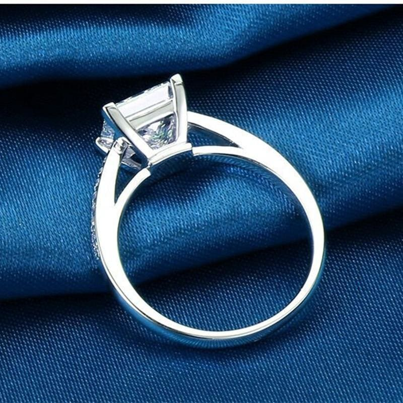 Sterling 925 Silver Simple Design Square Bridal Ring - Custom Made | Free Shipping