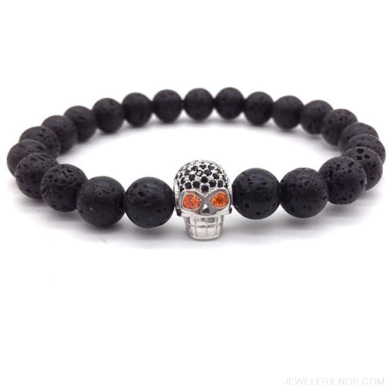 Stone Beads Skull Bracelet - 1 - Custom Made | Free Shipping