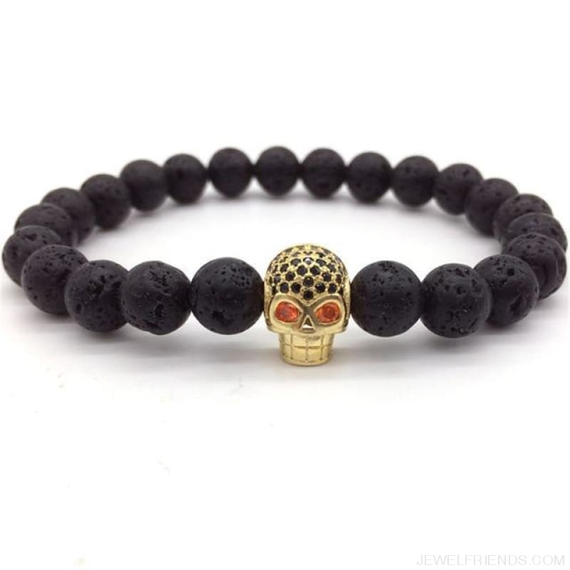 Stone Beads Skull Bracelet - 2 - Custom Made | Free Shipping