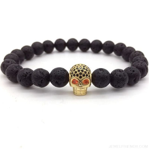 Image of Stone Beads Skull Bracelet - 2 - Custom Made | Free Shipping