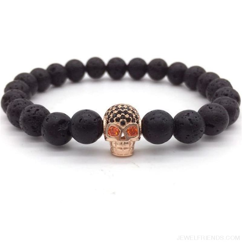 Stone Beads Skull Bracelet - 3 - Custom Made | Free Shipping