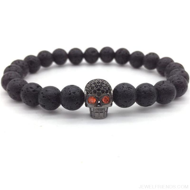 Stone Beads Skull Bracelet - 4 - Custom Made | Free Shipping
