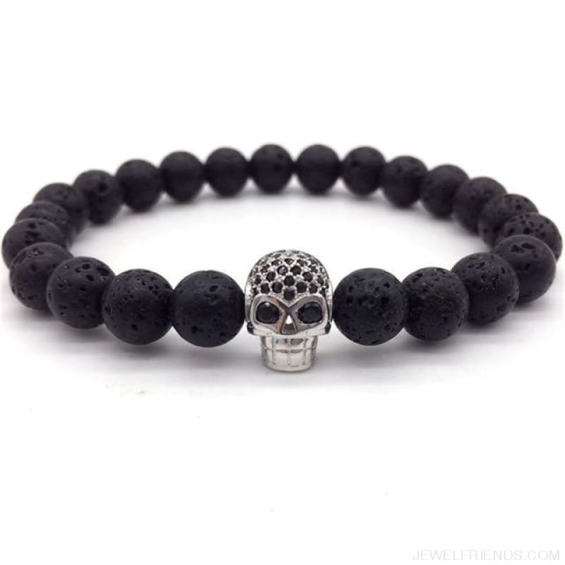 Stone Beads Skull Bracelet - 5 - Custom Made | Free Shipping