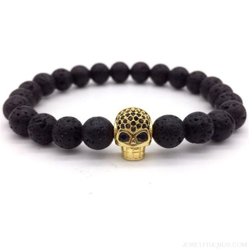 Stone Beads Skull Bracelet - 6 - Custom Made | Free Shipping
