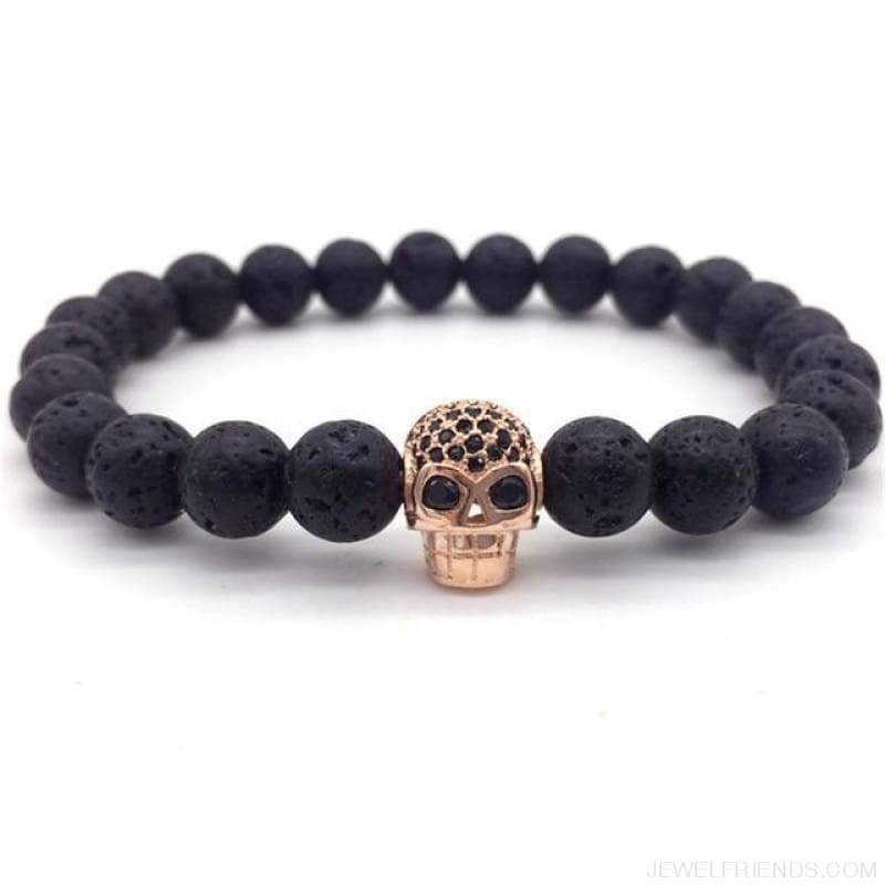 Stone Beads Skull Bracelet - 7 - Custom Made | Free Shipping