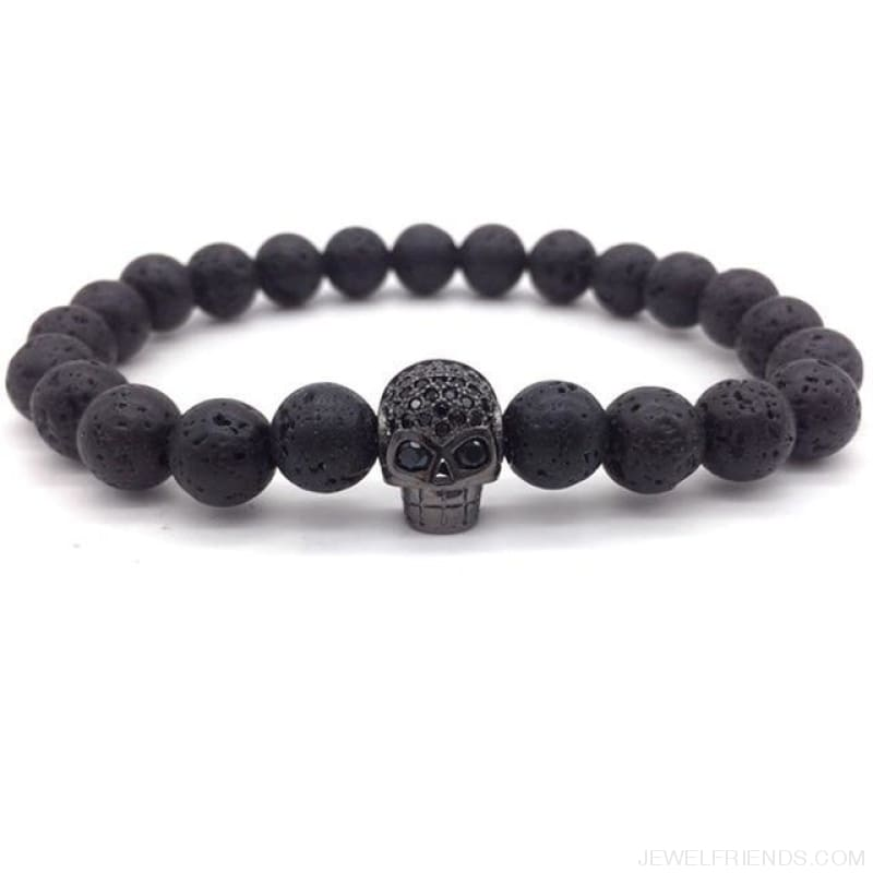 Stone Beads Skull Bracelet - 8 - Custom Made | Free Shipping