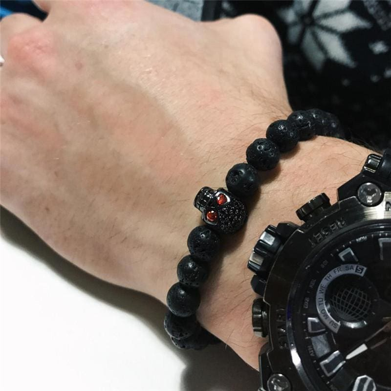 Stone Beads Skull Bracelet - Custom Made | Free Shipping