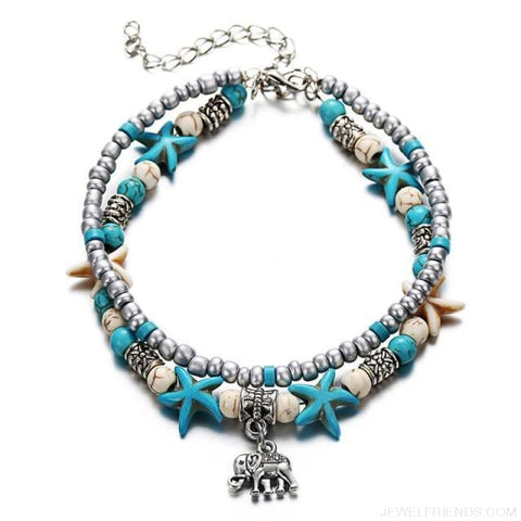 Image of Summer Beach Bead Shell Elephant Pendant Anklet - Fla444A1 - Custom Made | Free Shipping