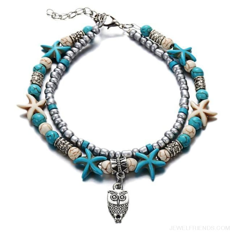 Summer Beach Bead Shell Elephant Pendant Anklet - Fla444A3 - Custom Made | Free Shipping