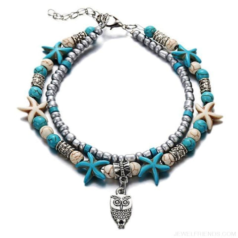 Image of Summer Beach Bead Shell Elephant Pendant Anklet - Fla444A3 - Custom Made | Free Shipping