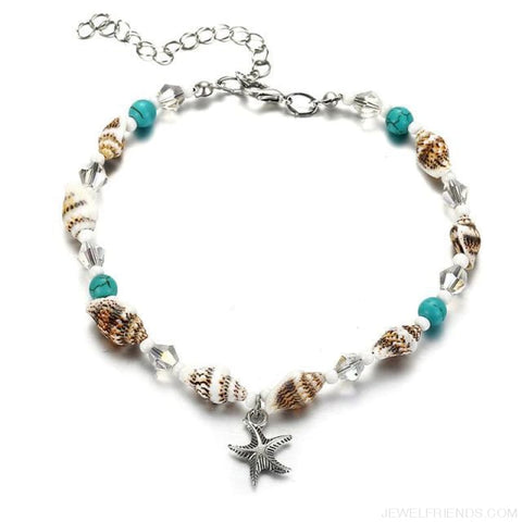 Image of Summer Beach Bead Shell Elephant Pendant Anklet - Fla505 - Custom Made | Free Shipping