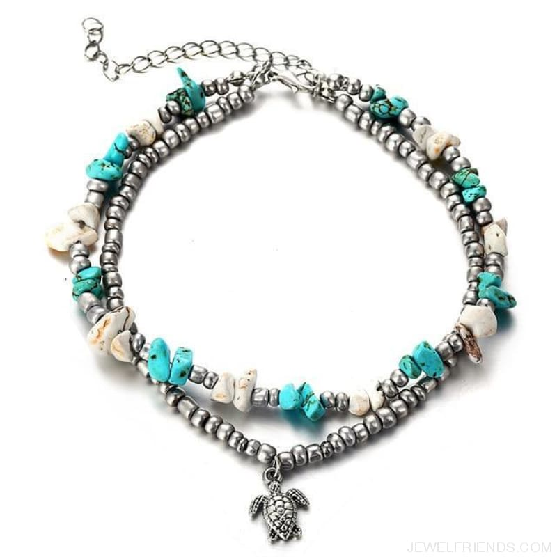 Summer Beach Bead Shell Elephant Pendant Anklet - Fla566 - Custom Made | Free Shipping