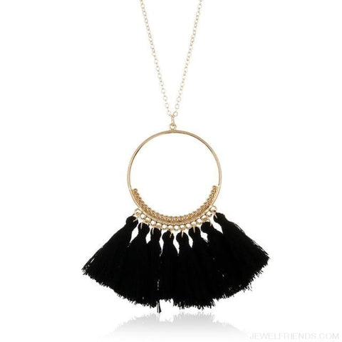 Tassel Circle Chain Long Necklace - Black - Custom Made | Free Shipping