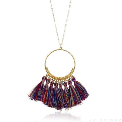 Tassel Circle Chain Long Necklace - Blue Colorful - Custom Made | Free Shipping