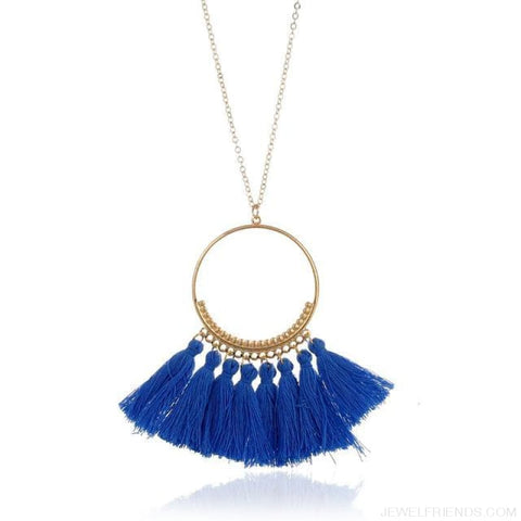 Tassel Circle Chain Long Necklace - Blue - Custom Made | Free Shipping