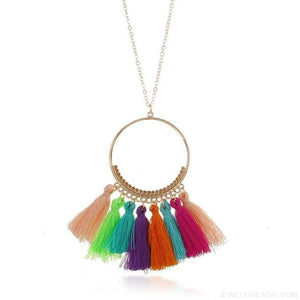 Tassel Circle Chain Long Necklace