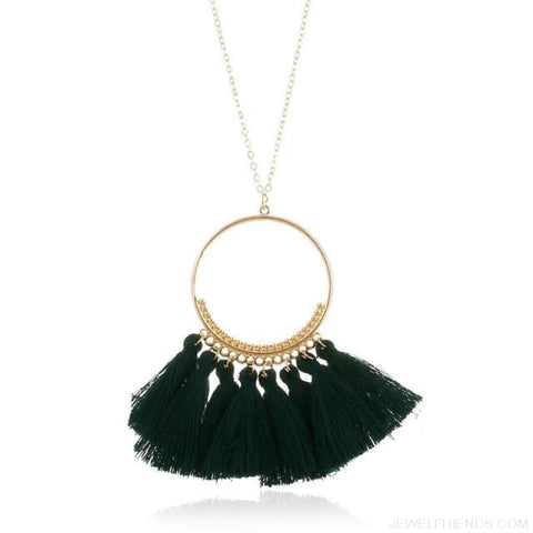Tassel Circle Chain Long Necklace - Dark Green - Custom Made | Free Shipping