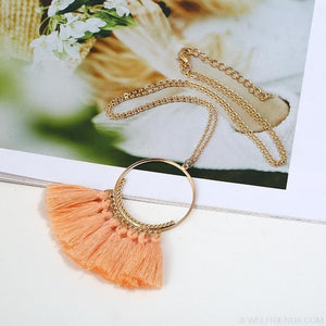 Tassel Circle Chain Long Necklace - Custom Made | Free Shipping