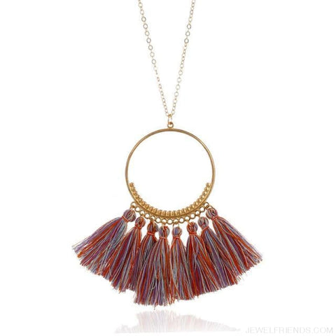 Tassel Circle Chain Long Necklace - Light Colorful - Custom Made | Free Shipping