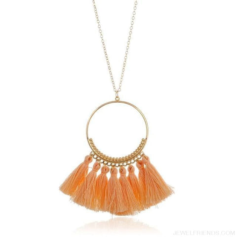 Tassel Circle Chain Long Necklace - Light Pink - Custom Made | Free Shipping